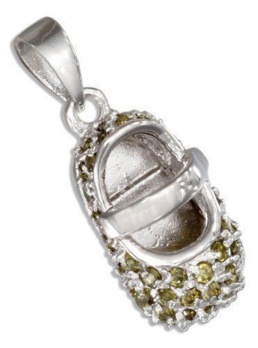 Sterling Silver August Cubic Zirconia Baby Shoe Pendant. 100Silver. $26.15