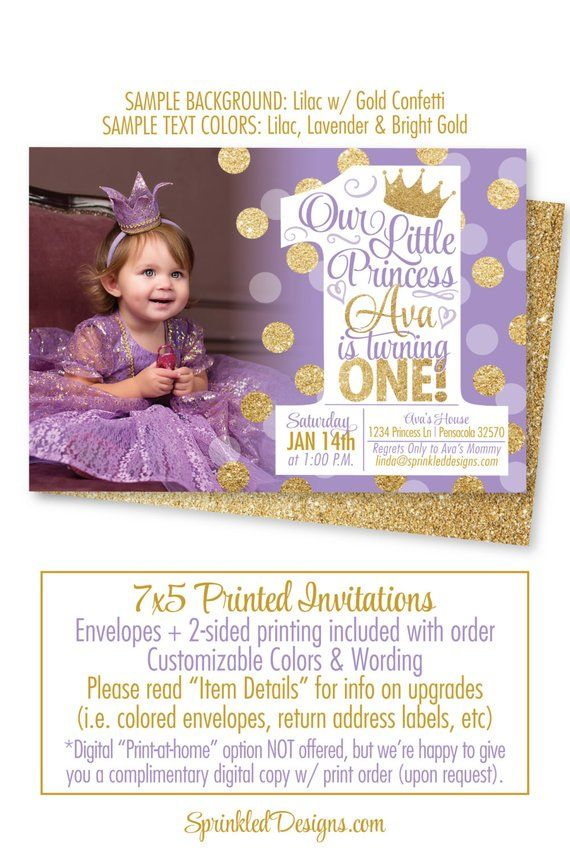 Princess First Birthday Girl Invitations Purple Gold Glitter 1st Invitation Photo
