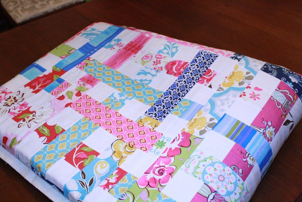 Simple woven quilt - jelly roll pieces stitched together