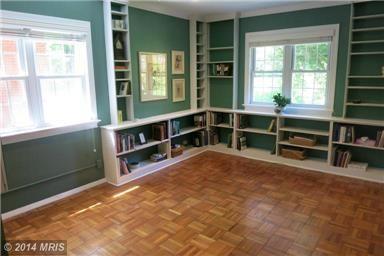 Shelves in guest bedroom