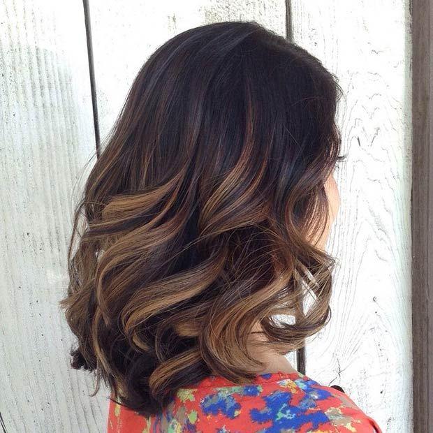 Lob with Caramel Highlights + Big Bouncy Curls