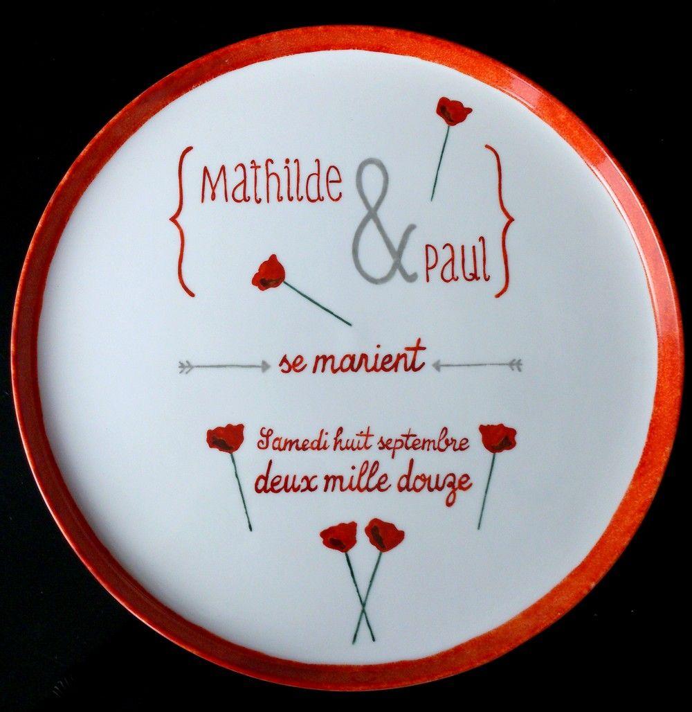 Porcelaine personnalisée d apr¨s le faire part de mariage Faire