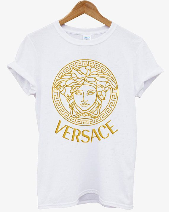 7dfbcbd0 VERSACE GOLD Printed Logo Men Cotton Black and White Cotton T Shirt Tee -  06VR on Etsy, $17.99