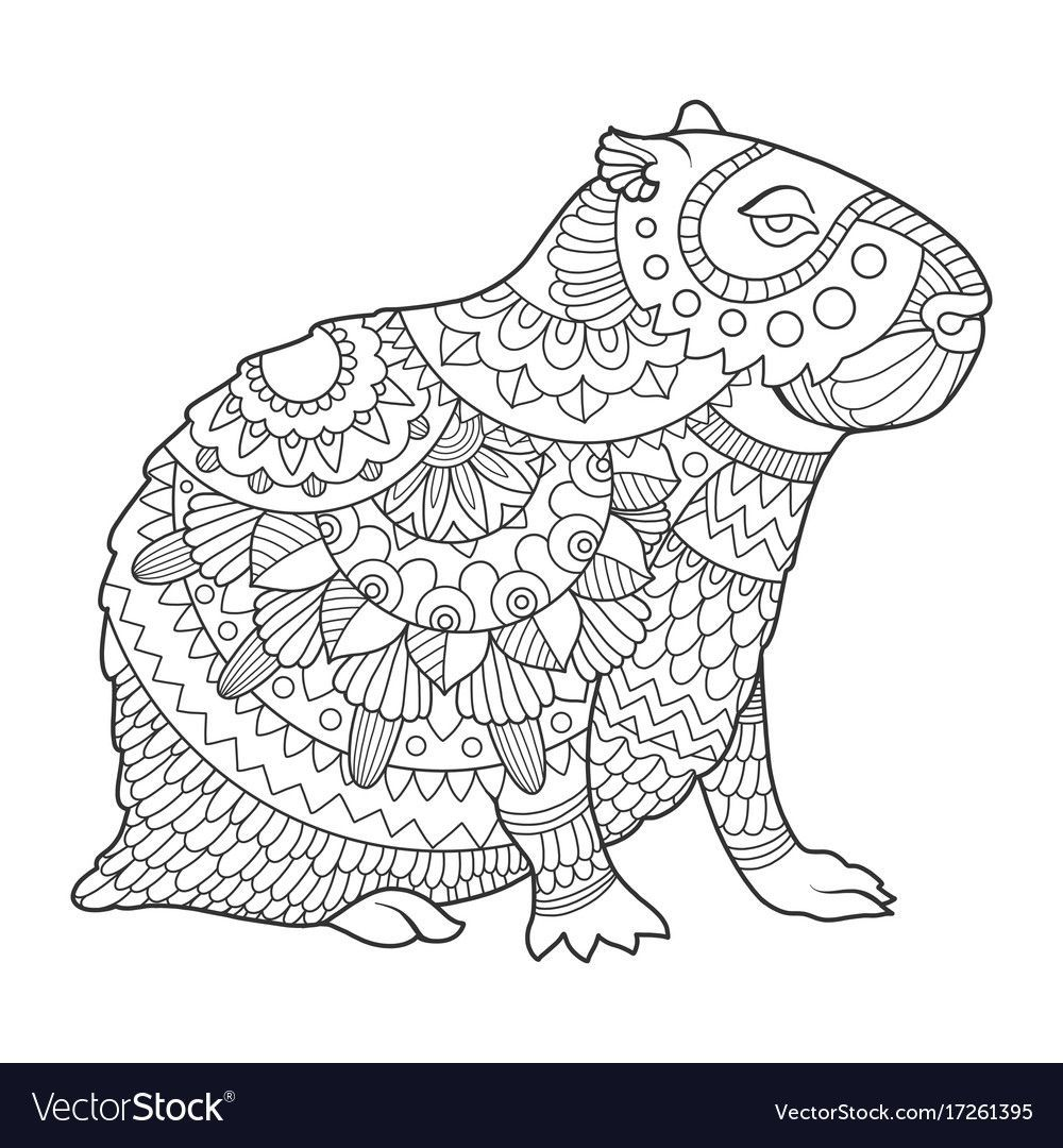 Capybara Rodent Animal Coloring Book Vector Illustration Black And White Lines Capyba Animal Coloring Books Animal Coloring Pages Black And White Lines