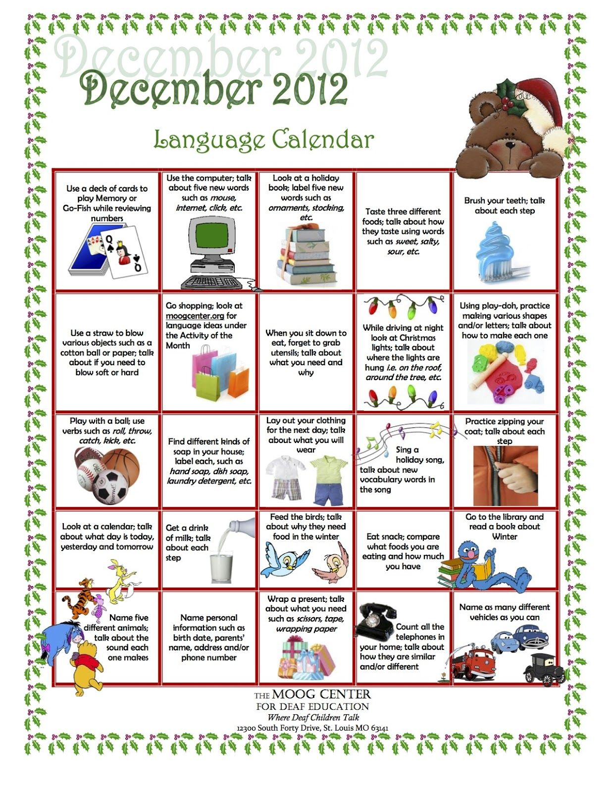 Hearsaylw Listening And Spoken Language Calendar For December