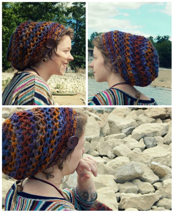Crochet PATTERN  Mini Mandala Slouchy Tam   Dread Hat   Snood Crochet  Pattern - Instant Download PDF c6e2038d00c