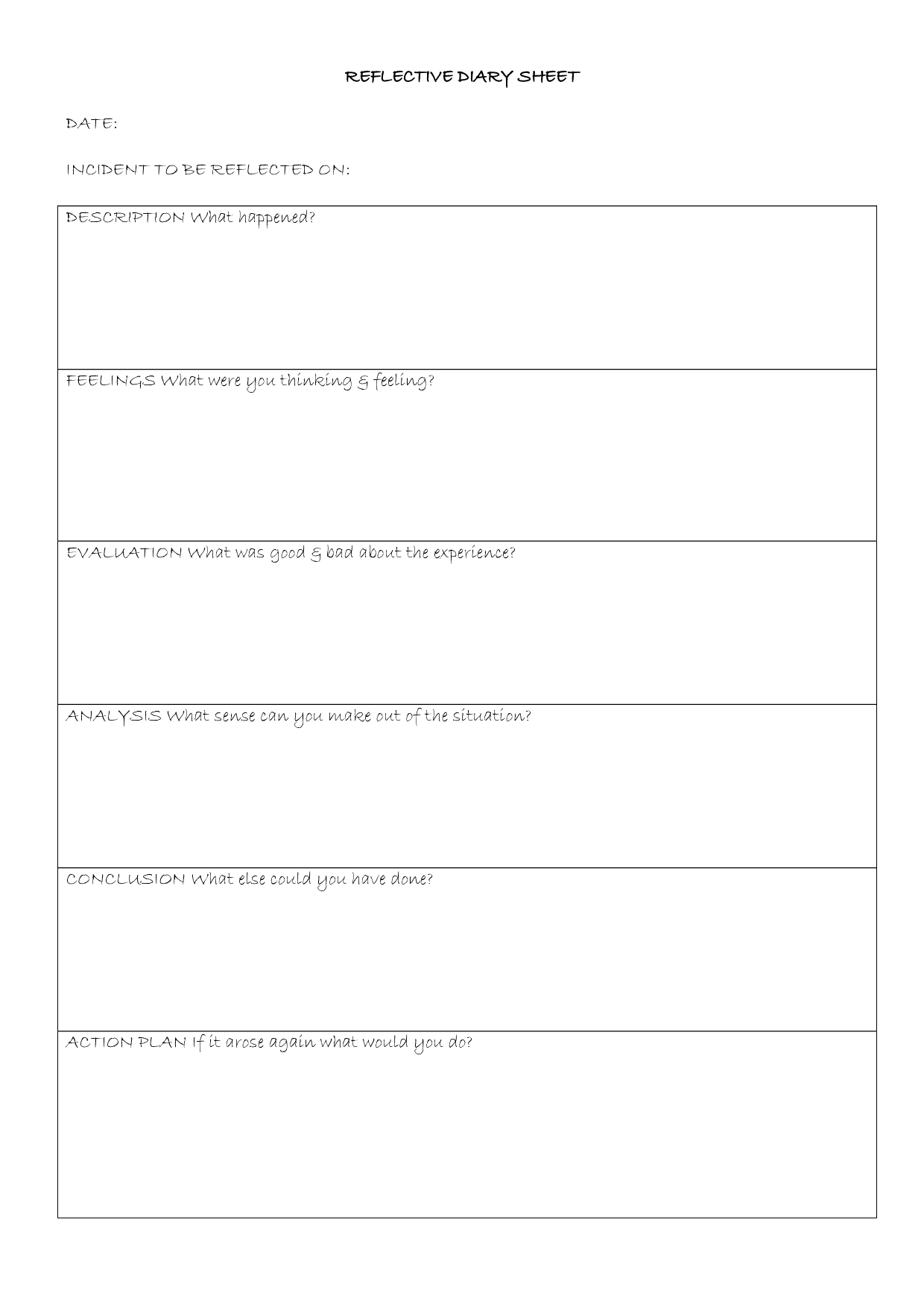 Reflective Journal Template