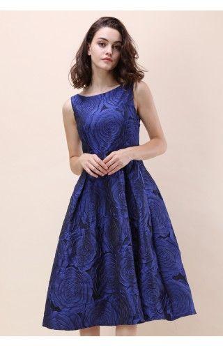 Blue Rose Night Embossed Prom Dress Womens Fashion Pinterest