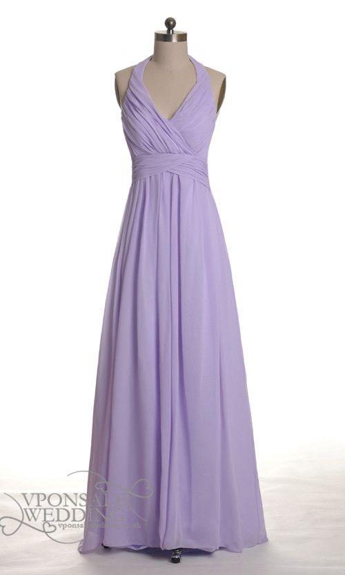Long Halter Lavender Bridesmaid Gown DVW0030 | VPonsale Wedding ...