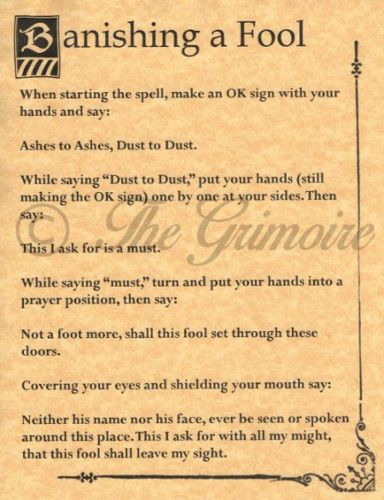 BANISH A FOOL, Book of Shadows Spells Page, Wicca, Witchcraft, Pagan