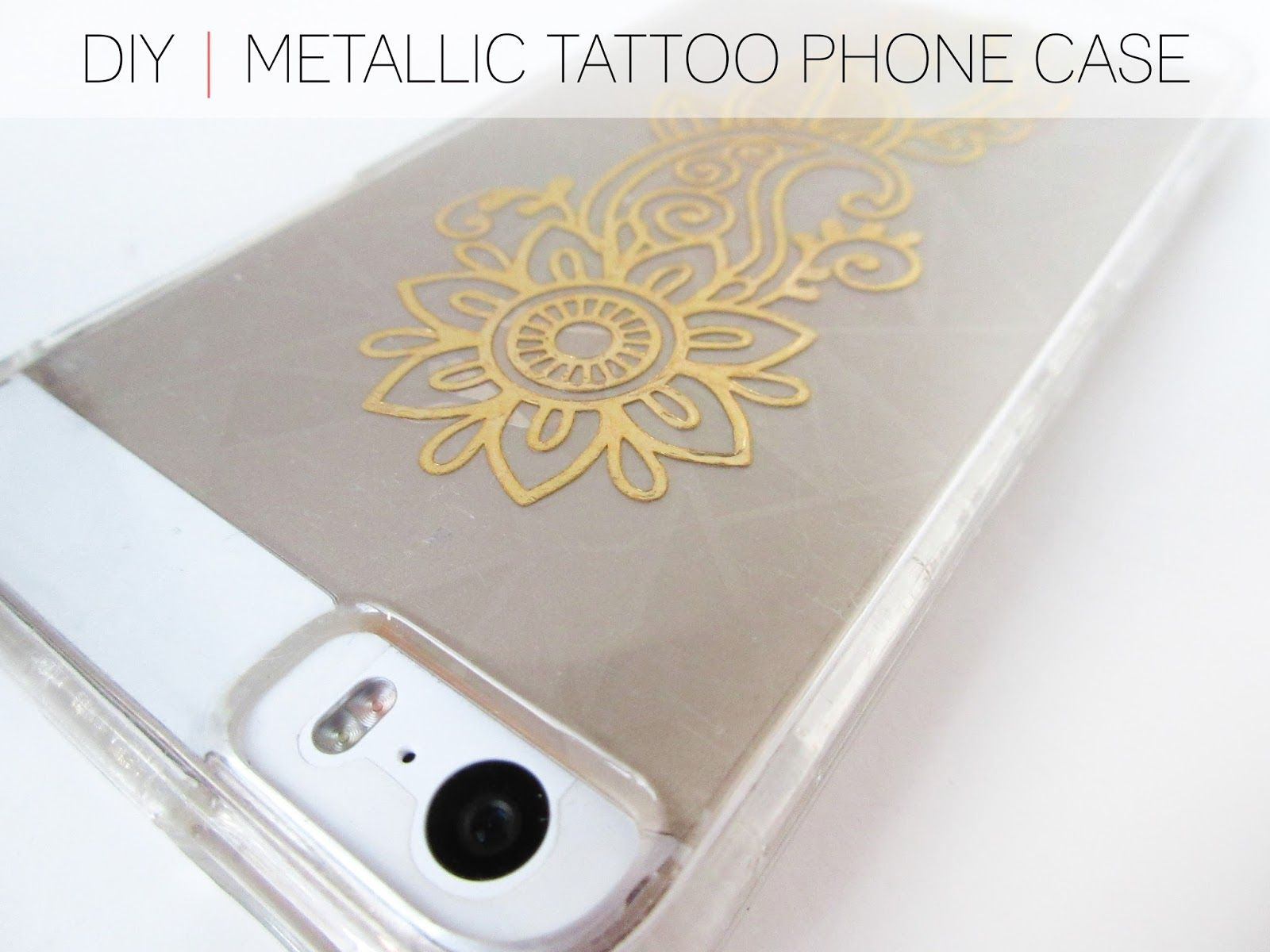 cafe craftea: diy   metallic tattooed phone case   crafty ideas