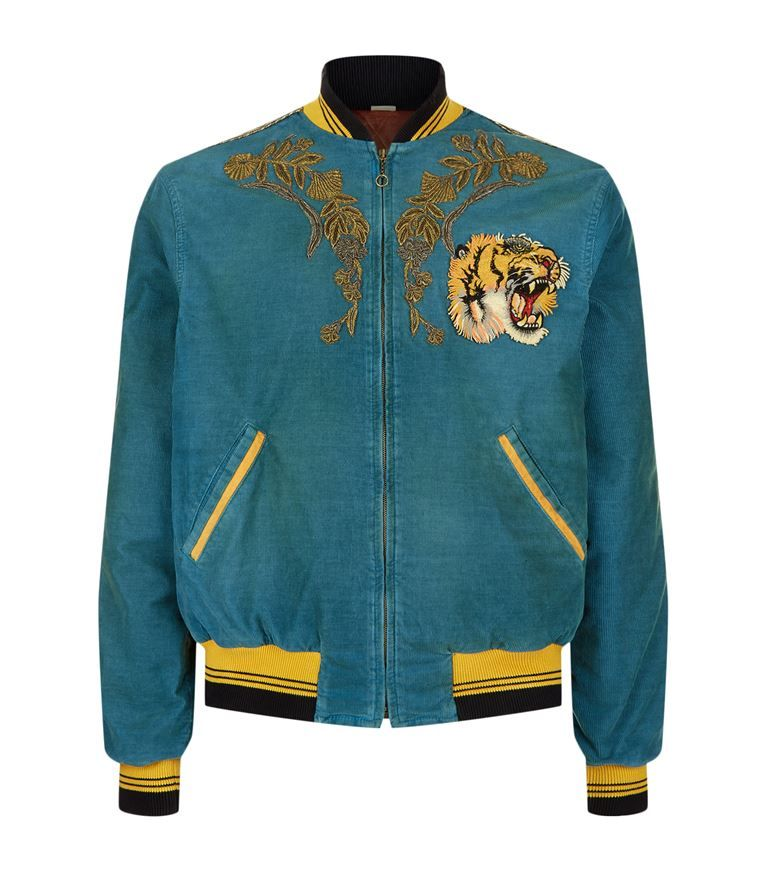 GUCCI Tiger And Dragon Corduroy Bomber Jacket. gucci cloth