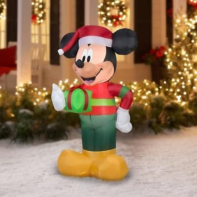 inflatable christmas decoration mickey mouse 5ft yard holiday airblown lawn led - Mickey Mouse Christmas Lawn Decorations