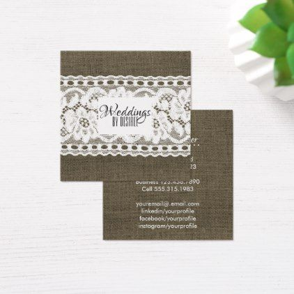 rustic wedding planner floral vintage lace burlap square business card lace wedding ideas marriage diy