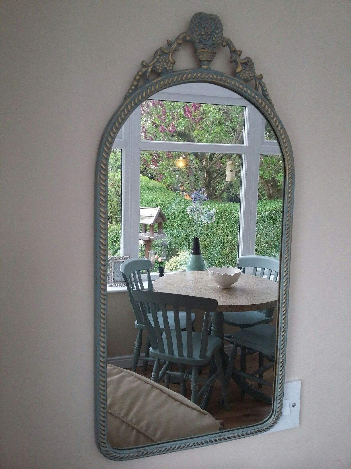 duck egg blue shabby. Shabby Chic Vintage Brass Mirror. Annie Sloan Chalk Paint ..Duck Egg Blue Duck