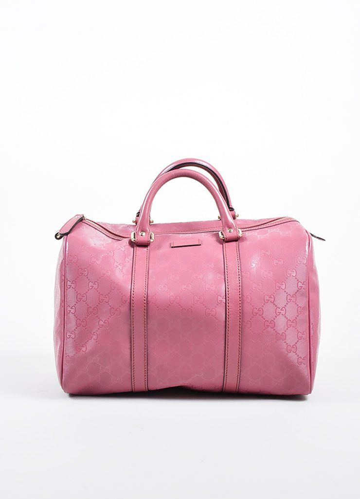 b691c016076 Pink Gucci Monogram Coated Canvas Leather