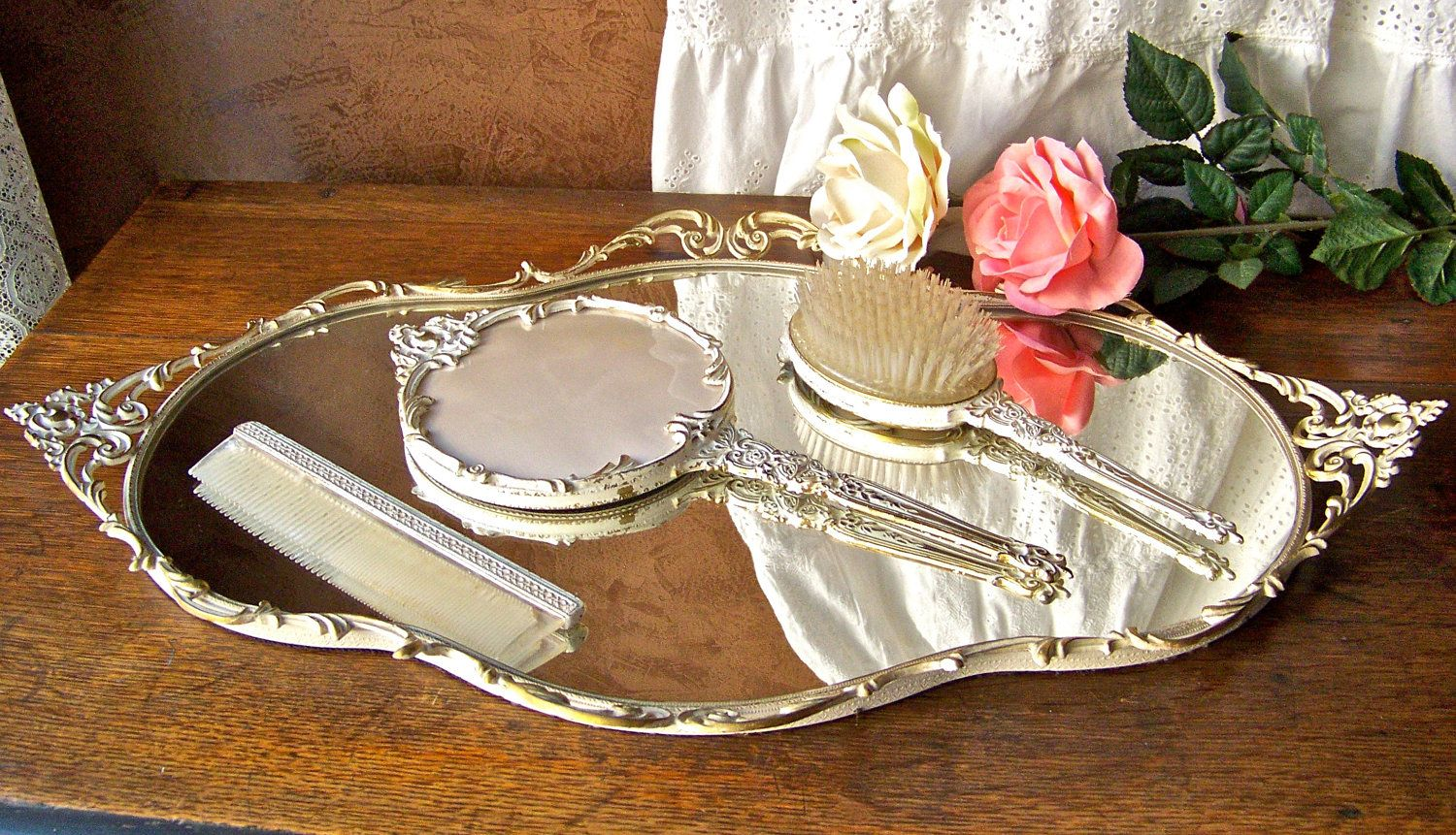 Vintage Vanity Tray with Brush Comb and Hand Mirror