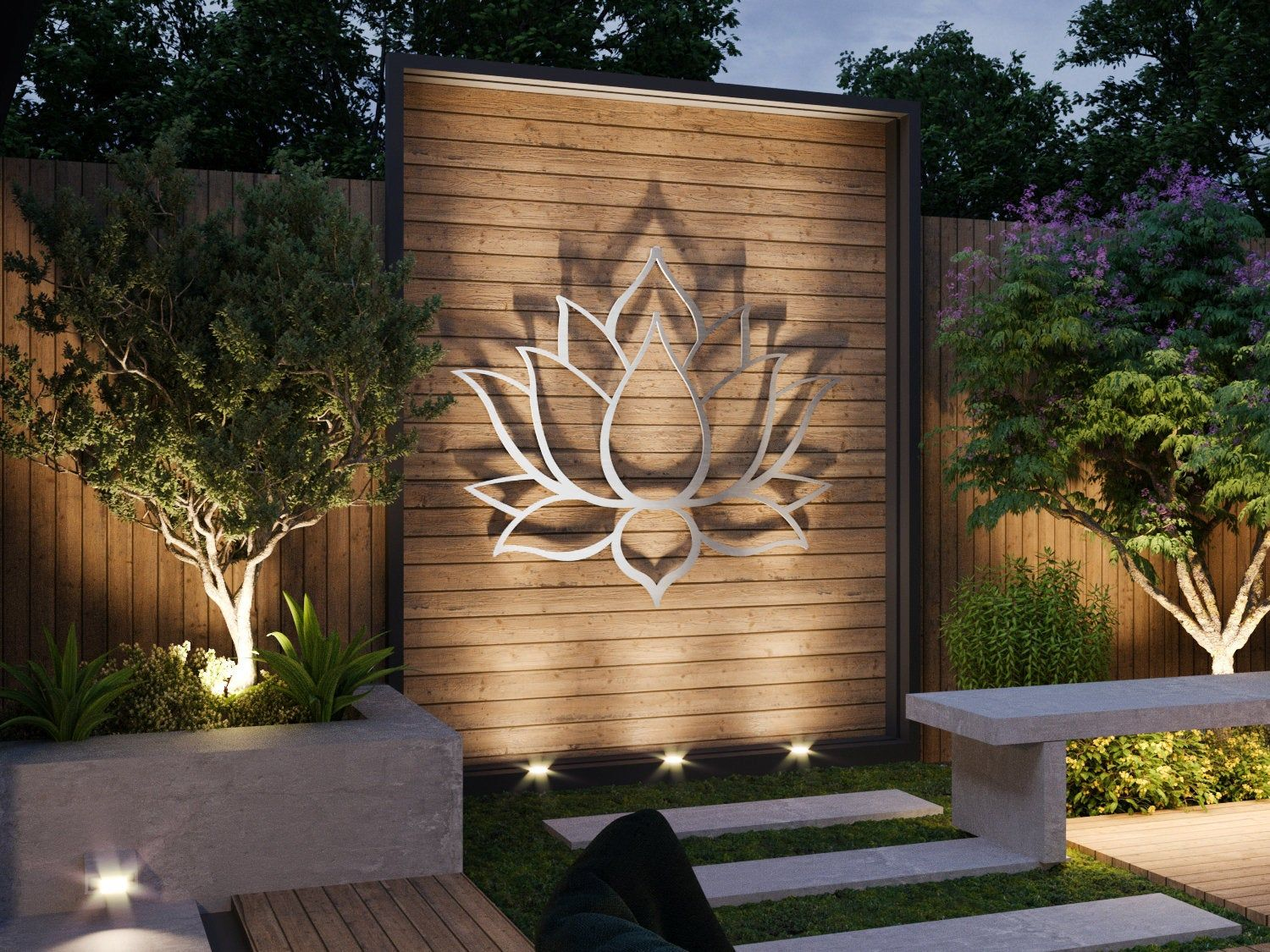 Lotus Flower Large Outdoor Metal Wall Art Garden Sculpture Etsy Modern Outdoor Wall Art Garden Wall Designs Outdoor Metal Wall Art