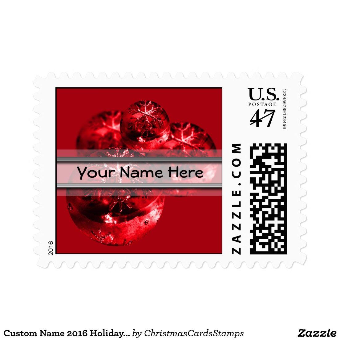 Custom Name 2016 Holiday Cards Stamp USPS | Christmas Postage Stamps ...