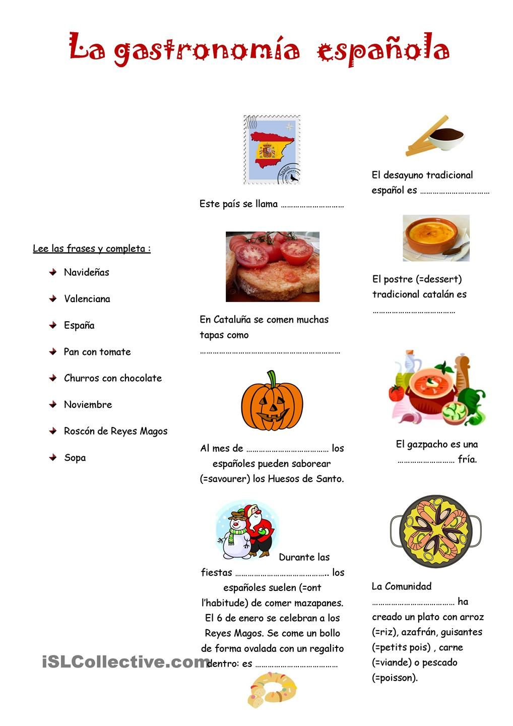 Workbooks spanish food worksheets : La gastronomia espanola | Gratuito ELE worksheets | Comida/Food ...