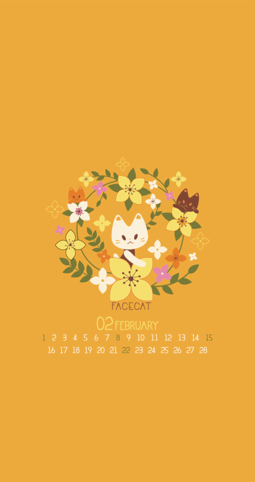 Tap image for February calendar wallpapers! February