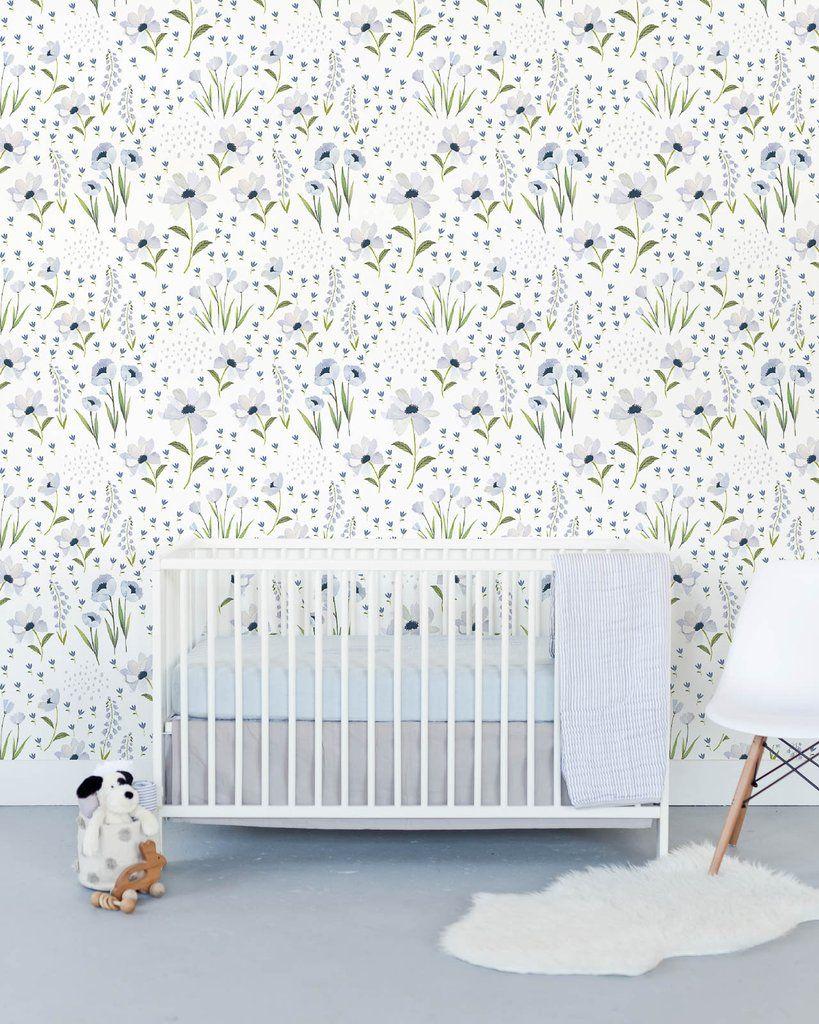 Removable Wallpaper Blue Windflower Girls room