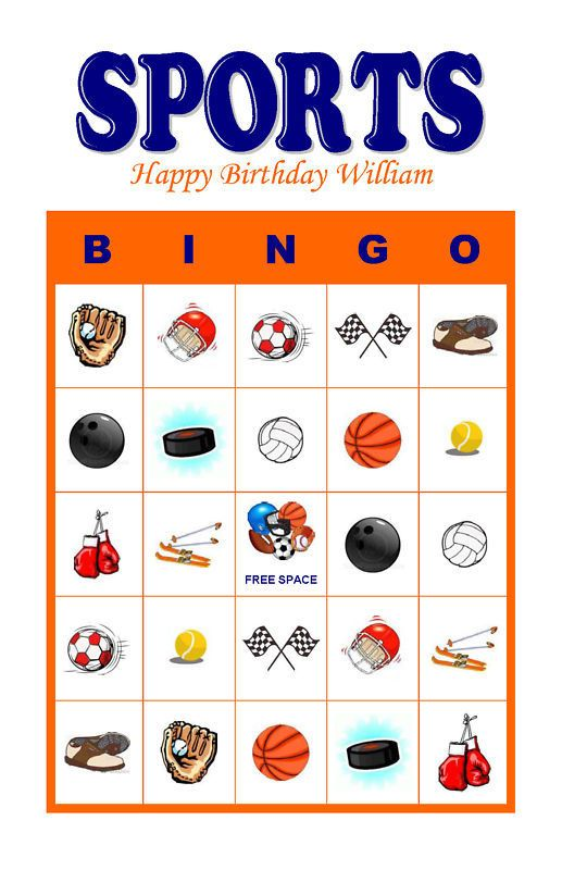 Details about Sports Birthday Party Game & Activity Bingo ...