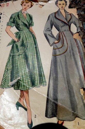 LOVELY VTG 1950s HOUSECOAT BRUNCH COAT Sewing Pattern 16/34 ...