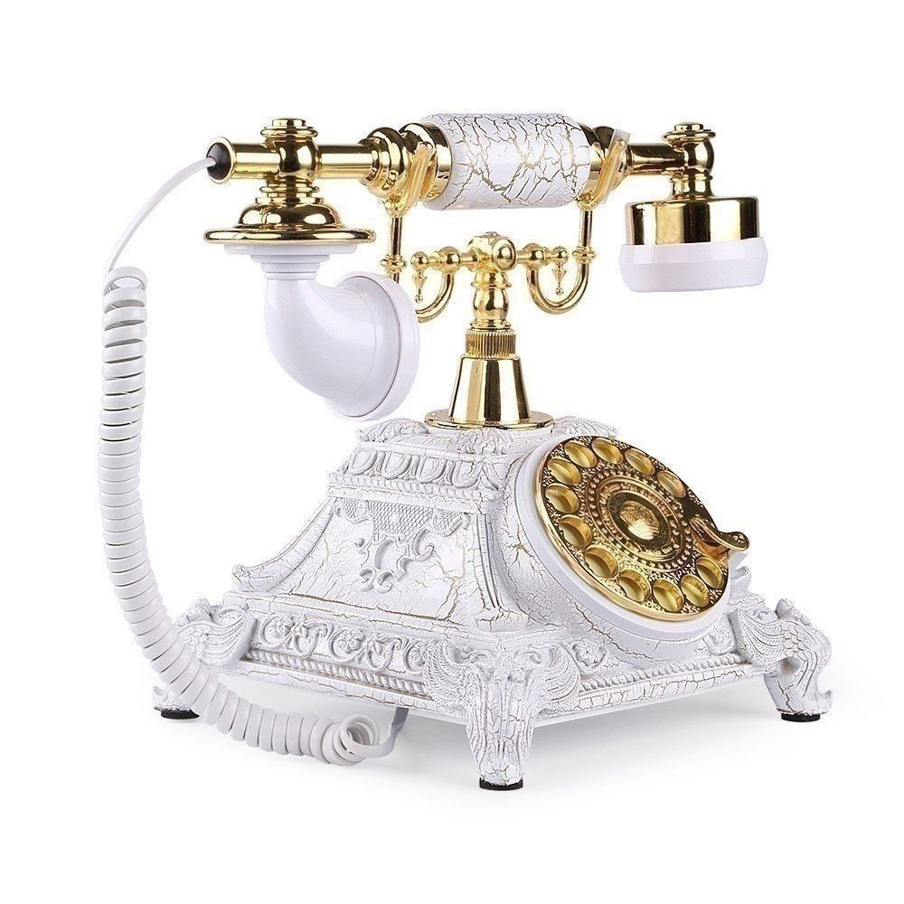White Vintage Telephone Retro Phone Table Home Office Collectors ...