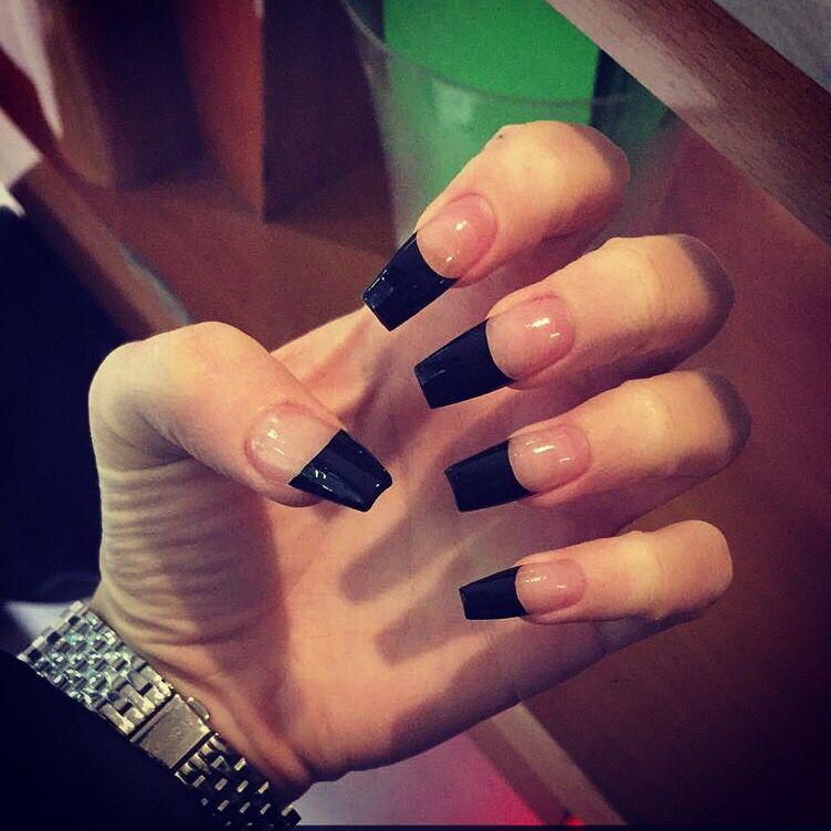 Black French Edgy Nails Nails Long French Tip Nails