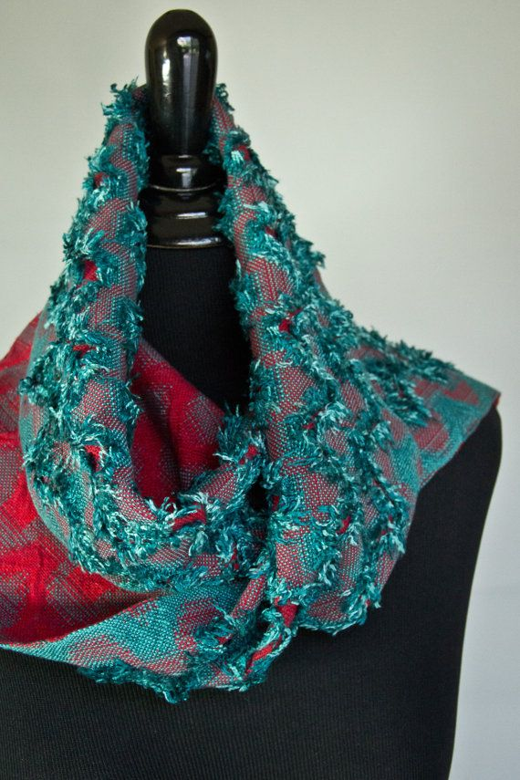 Handwoven Scarf Teal & Red Unique Reversible by BSchoriHandwovens