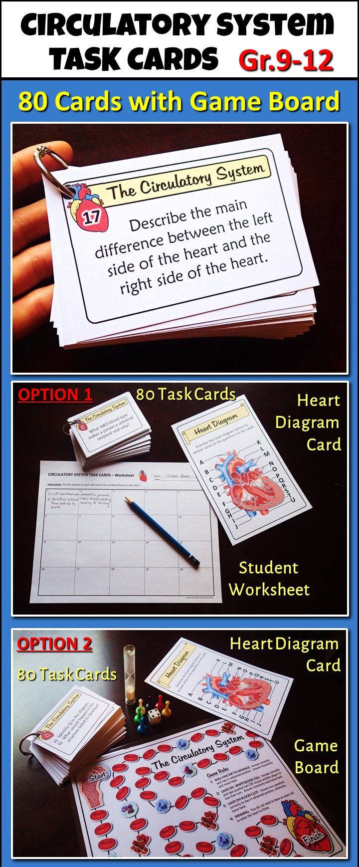 Circulatory System Task Cards with Game Board {Editable