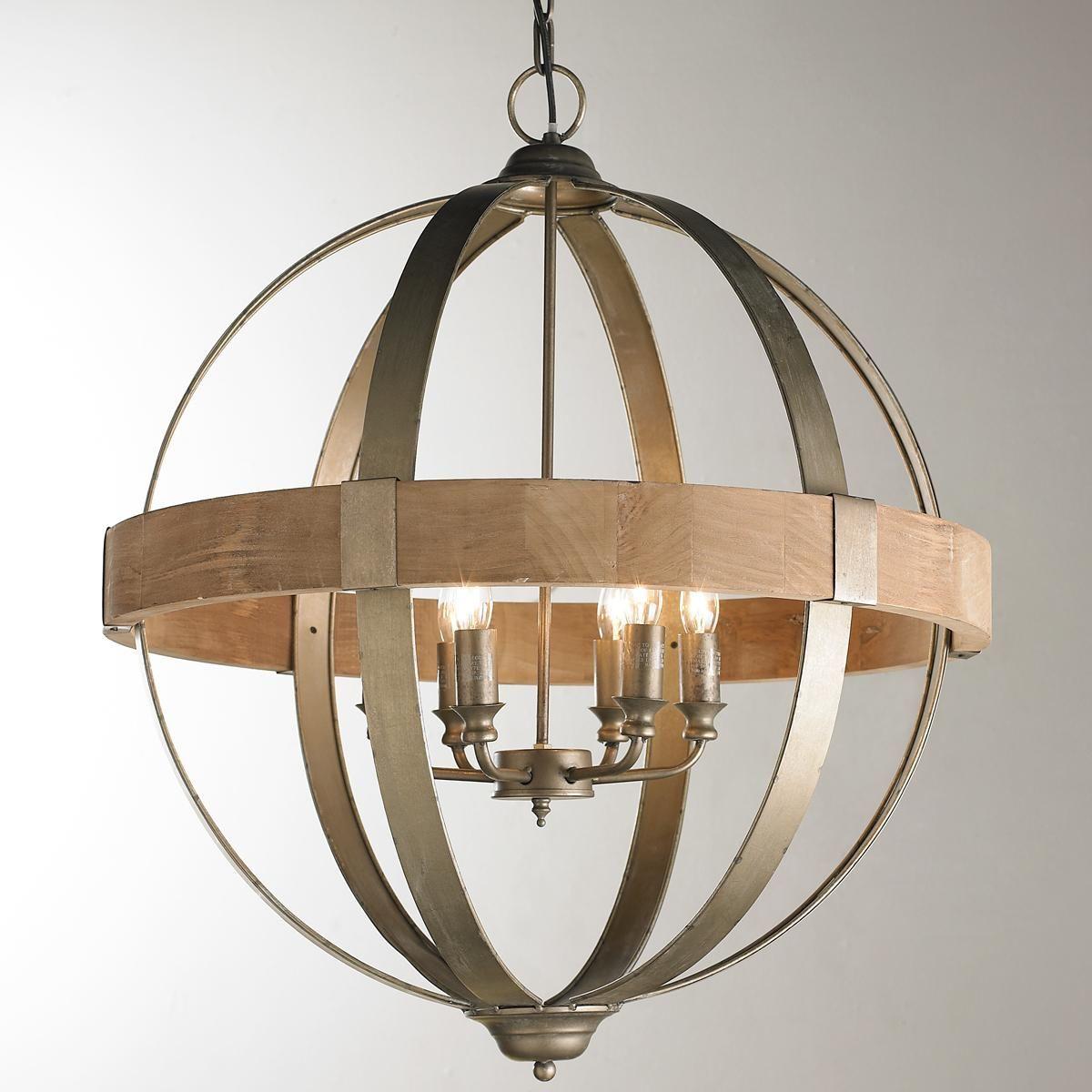 Modern Chandelier Lighting Globe 4 Lights Wood Ceiling: Metal And Wood Globe Chandelier - 6-Light