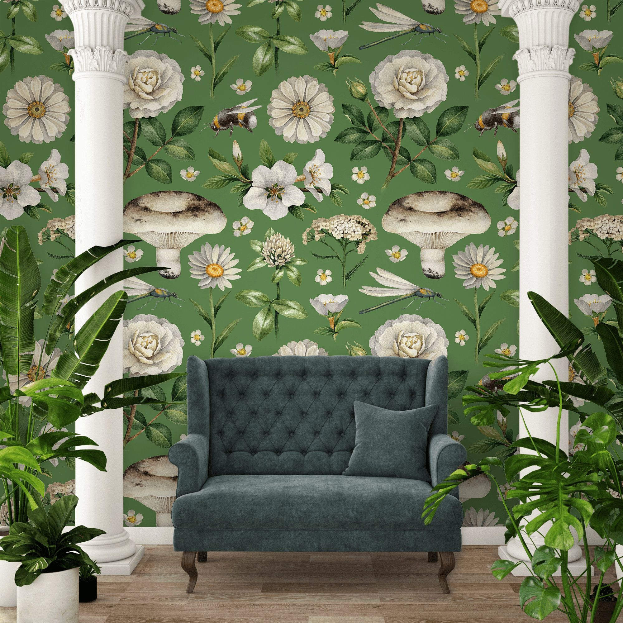 Retro Botanical Wallpaper Peel And Stick Wallpaper Etsy Botanical Wallpaper Watercolor Walls Removable Wallpaper