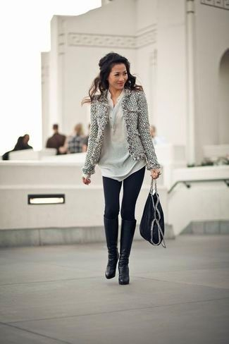 Women's Grey Leopard Coat, Pink Knit Casual Dress, Black Necklace, Charcoal Suede Over The Knee Boots, and Grey Leather Clutch   Lookastic for Women