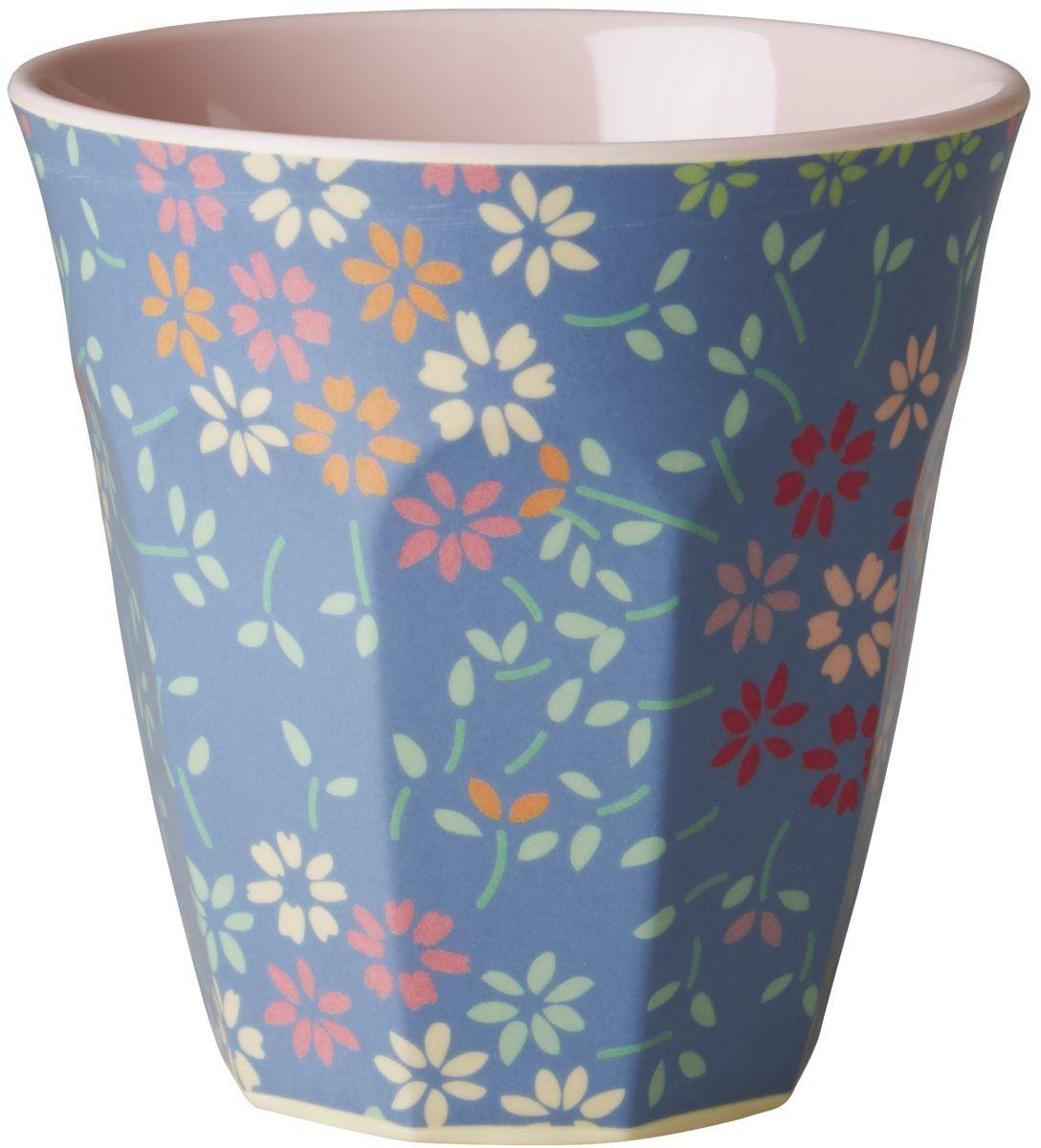 RICE Melamine Tall Latte Two Tone Cup Marrakesh Print Blue