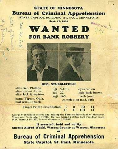 Wanted poster for Minnesota bank robber, George Stubblefield Iu0027m - criminal wanted poster