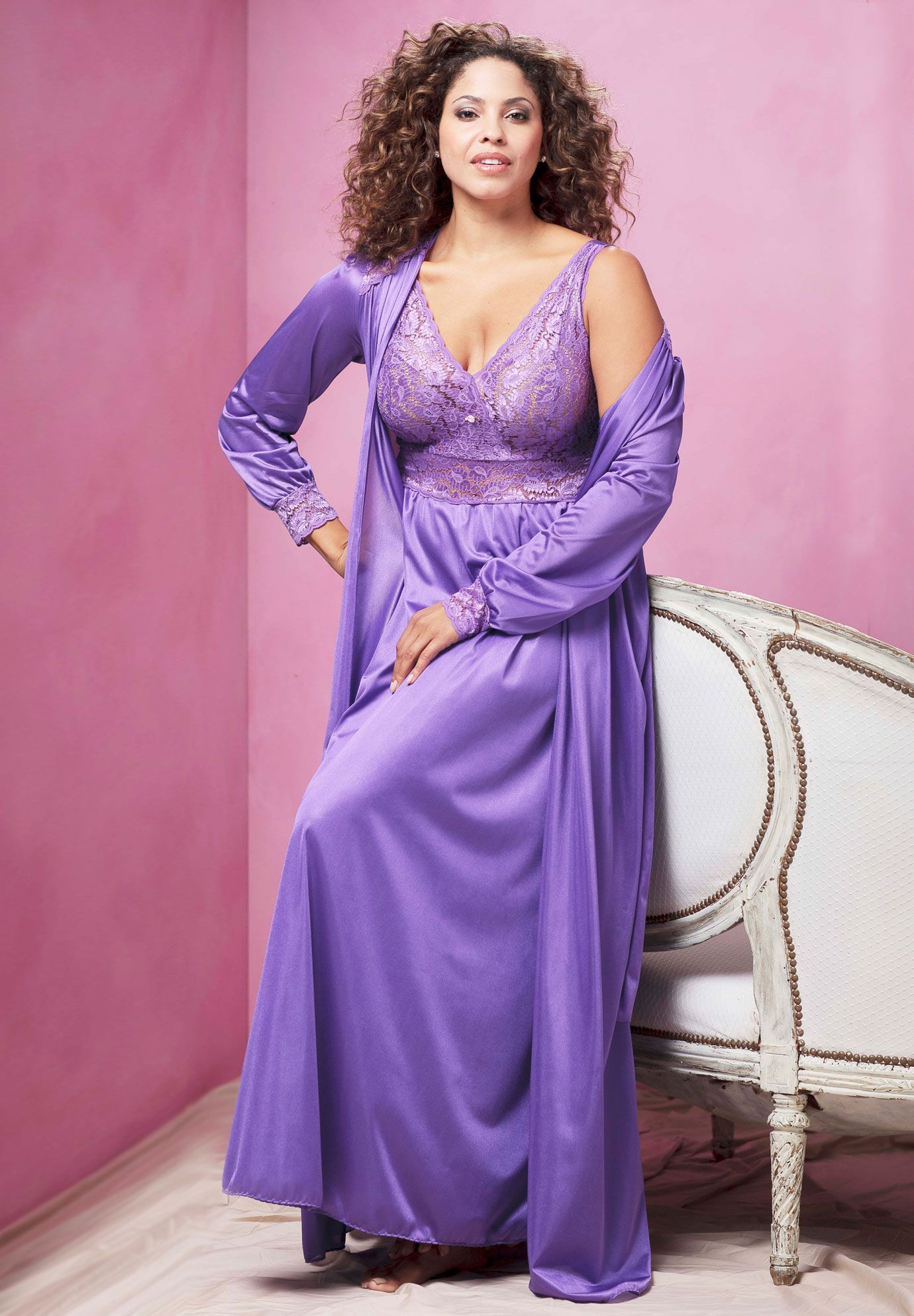 0a68633db76 Plus Size Long Tricot and Lace Peignoir Set