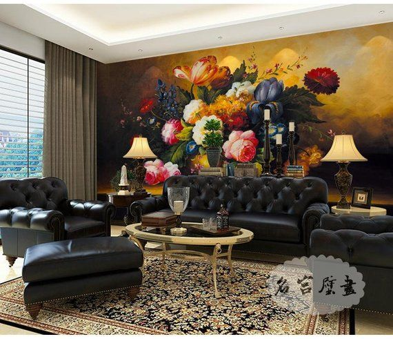 Victorian Mural Wallpaper: Dark Color Oil Painting Victorian Floral Wallpaper Wall