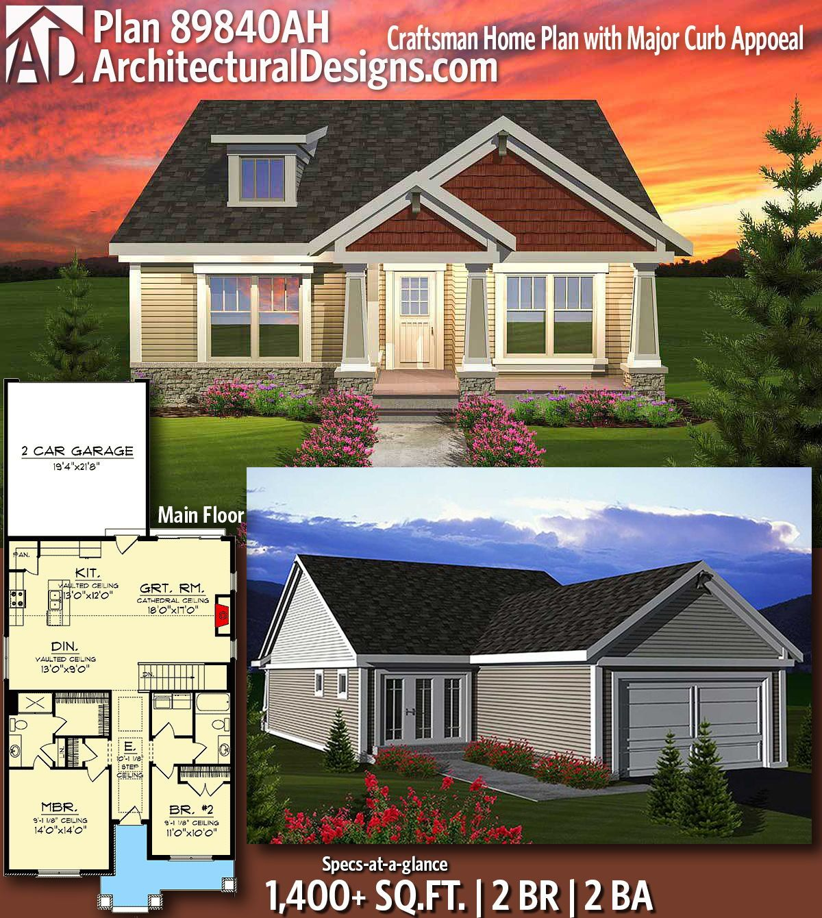 Plan 89840AH: Craftsman Home Plan With Major Curb Appoeal