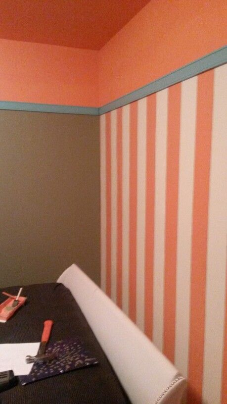 Chair Rail Accent Wall Part - 40: Coral And White Striped Accent Wall, Grey Room With Coral Ceiling And Mint  High Chair