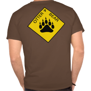 """Yellow road sign image with bear pride bear paw and """"OTTER 4 BEAR"""" text on gay otter t-shirt."""