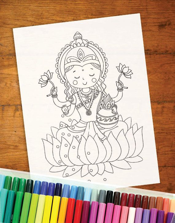 Diwali colouring page Dussehra colouring page by YellowDoodleShop ...
