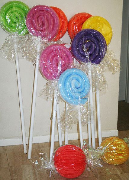 Giant Lollipops Made Out Of Pool Noodles Candyland Party Candy Party Party Decorations