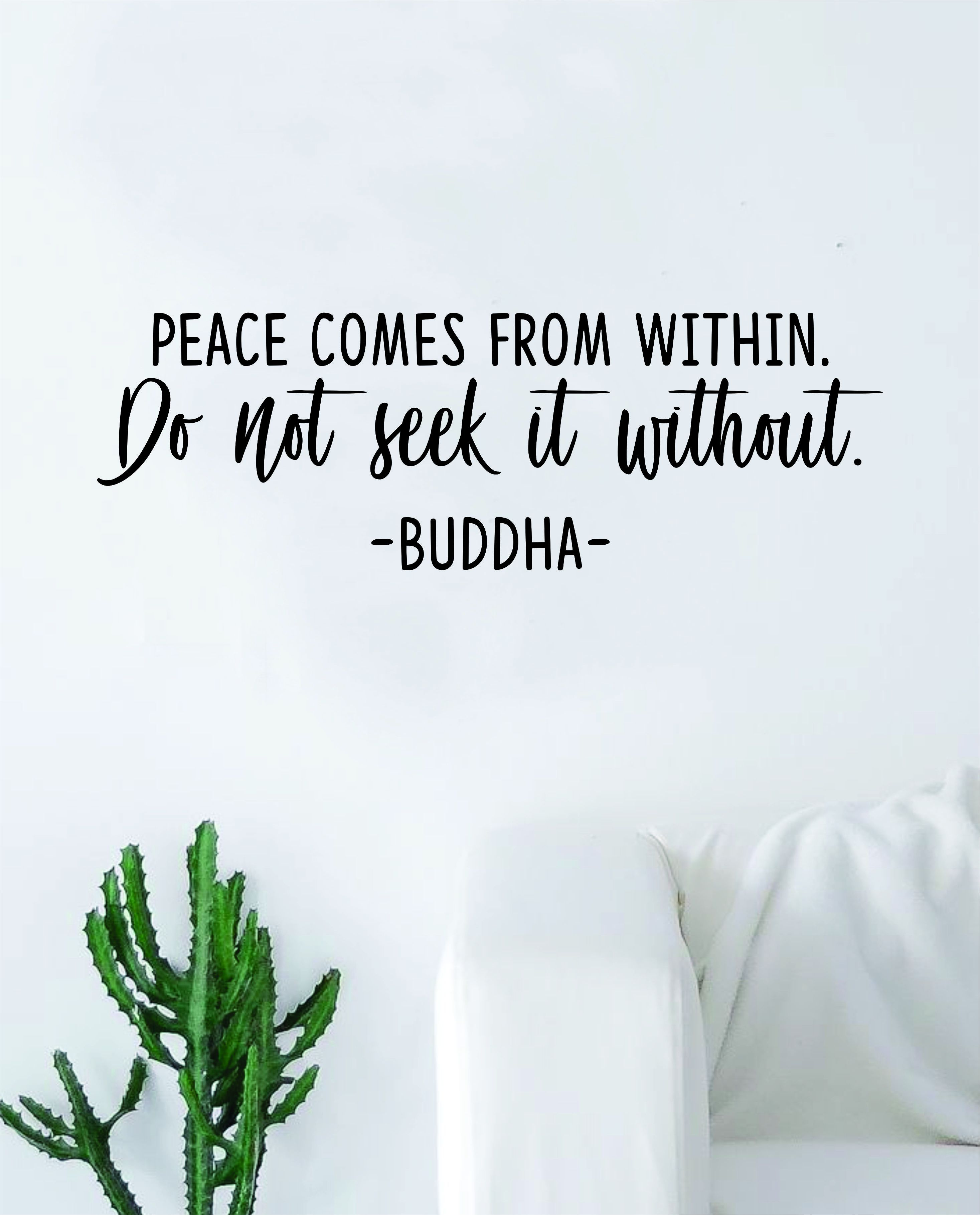 Buddha Peace Comes from Within v2 Quote Decal Sticker Wall Vinyl Art Decor Bedroom Living Room Namaste Yoga Mandala Om Meditate Zen Lotus Inspirational - green