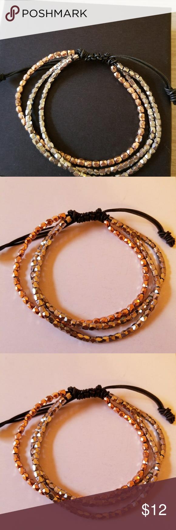 Express bracelet Rose gold and silver Black tie Silver bracelets