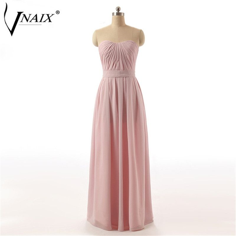 Vnaix B1072 Sample Sweetheart with Pleat and Bow Long Chiffon Bridesmaid  Dresses Maid of Honor Dress 5a1a7820c59f