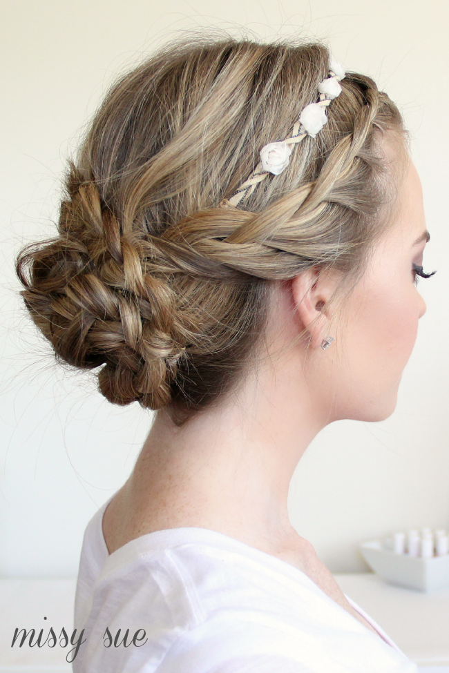 Braided Updo And Flower Crown Flower Crown Hairstyle Flower Girl Hairstyles Headband Hairstyles