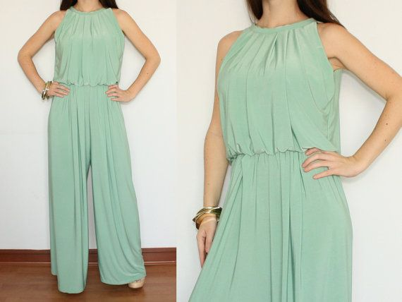 2cfb479960f Wide Leg Jumpsuit Palazzo Pants in Mint Green for by KSclothing