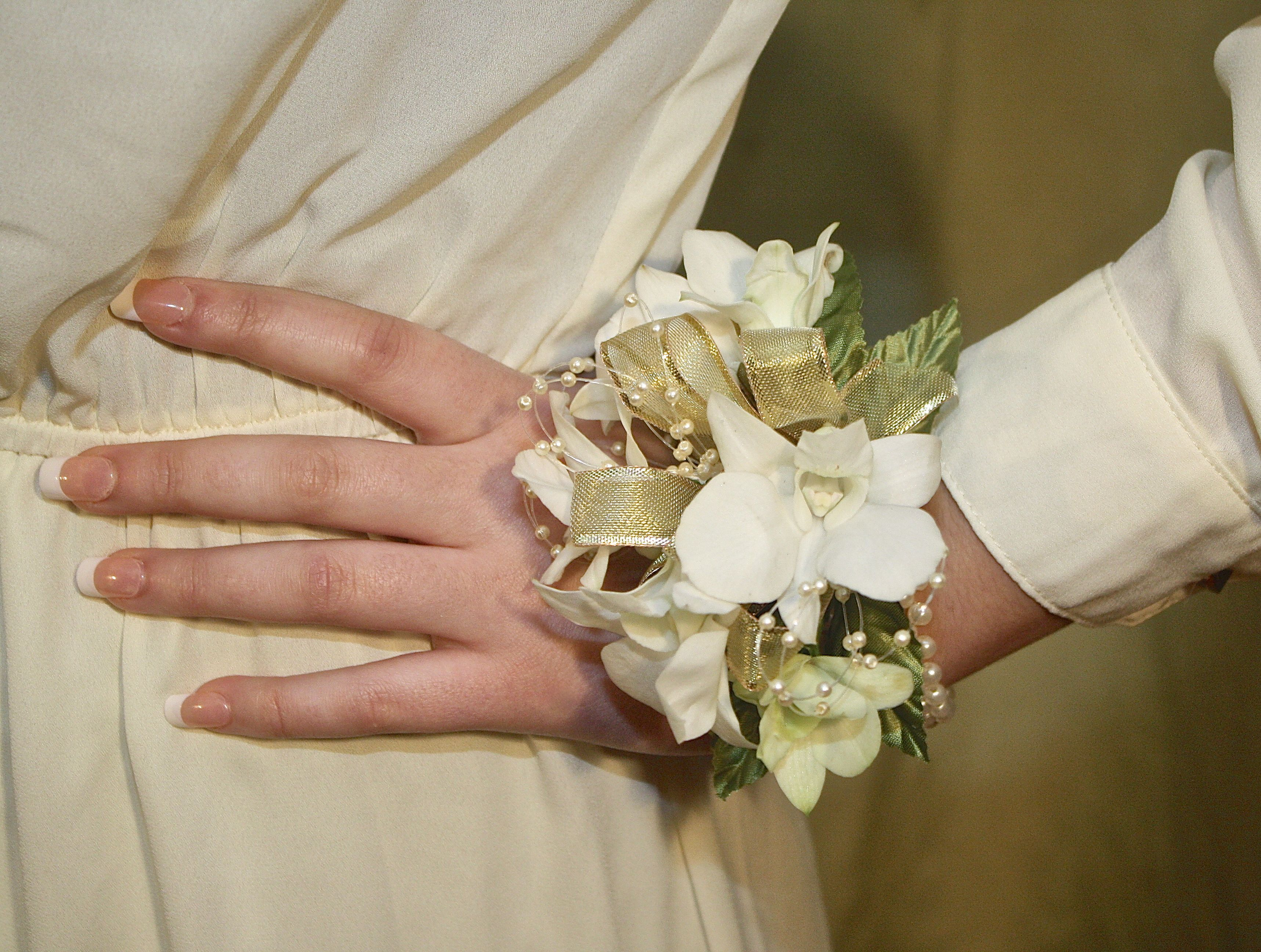 Prom flowers beautiful wrist corsages white and gold flower prom flowers beautiful wrist corsages white and gold flower corsage westchester new york bedford village florist mightylinksfo